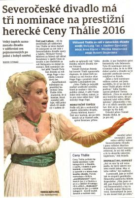 Ústecký deník - nominace na Ceny Thálie 2016